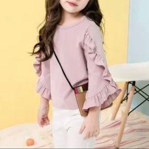 Shirts & Tops - NWT Girls Blush Pink Ruffle Trumpet Sleeve Blouse